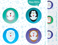 Collection of 6 Christmas icons (stickers)
