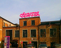 Rooftop sign for the Flacon Design Factory