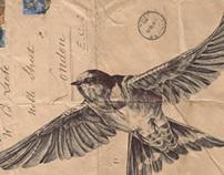 Bic Biro drawing on 1934 envelope.