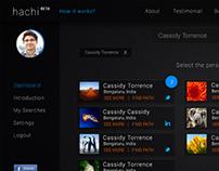 Mock-up of 'Hachi' Web App