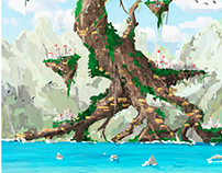 Floating world concept art