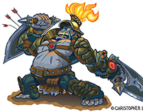 Fantasy Gorilla Warrior Cartoon Illustration