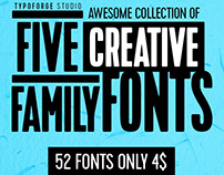 AWESOME COLLECTION OF 5 Creative Family Fonts