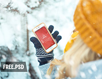 Free Mockup Girl with Phone in Forest