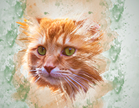brush effect cat wallpaper