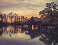 Sunset and water mills