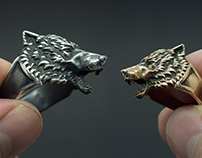 Wolf head ring. Silver, brass
