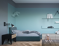 Abstract Blue boy room