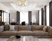 Private apartments. Interior design of the living room