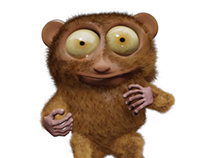 tarsier monkey 3d illustration