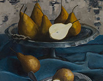Yellow pears on a blue cloth