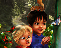3D Anaglyph image: Children in the woods