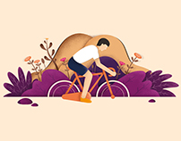 """Illustration """"Riding a bicycle"""""""