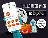 Halloween pack. Animated stickers for iMessage