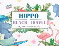 Hippo. Beach Travel