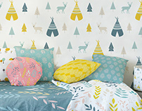 Pattern design for fabric and wallpaper