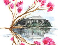 Watercolor Architecture - Jefferson -Inside the process