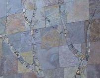 Slate mosaic wall-sized tree