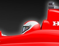 Honda Indy Car Banner Ad Illustration
