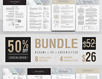 Professional Resume Template Bundle /8 in 1/Coverletter