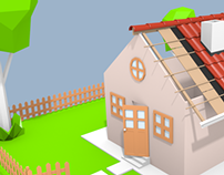 Lowpoly house and rooftile modelling