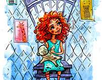 Girl with a bear on chair.  watercolor Illustration