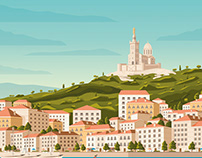 Marseille France Retro Travel Poster Illustration