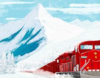 A train running through the snow