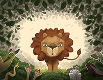 The Lion and The Fawn Storybook Art