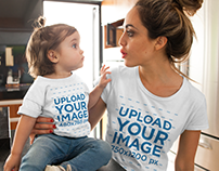 Mom with her Girl Wearing T-Shirts Mockup
