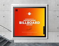 Free Underground Hall Billboard Mockup