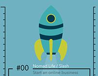 Infographic of Digital Nomad / Nomad Life / Slash
