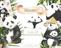 Watercolor Panda Family illustrations, cards,characters