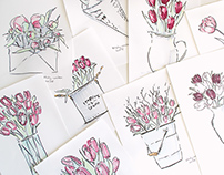 Spring Postcards Illustrations