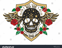 Tattoo skull and red rose vector art