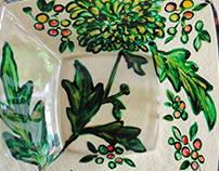 Green green grass. Glass painting
