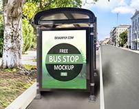 Free Bus Shelter PSD Mockup