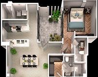 2Bedroom 3D Floorplan Architectural 3D Apps