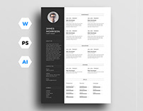 Free CV Template for Word, Illustrator and Photoshop