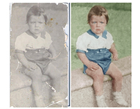 Restoration and colorisation of a photograph of a child