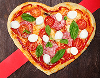 Shape heart pizza .Creative valentine day project.