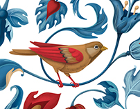 "Textile bird pattern for ""Secret Garden"" clothes brand"