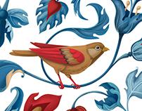 "Textile bird pattern for ""Secret Garden"" clothes brand"