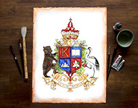 Custom coat of arms with a crane and bear