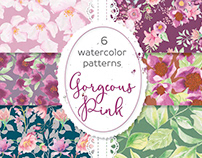 """Gorgeous pinks"": set of 6 watercolor patterns"