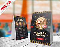 Mexican Food Menu Table Tent Free PSD