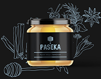 "Logo and label design for honey ""PASEKA"""