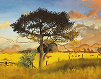 Pasture Landscape Painting on Canvas