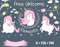 FREE VECTOR UNICORNS ELEMENTS