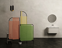 MOVO. Bathroom Folding Screen.